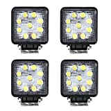 Masione 27W Square LED light Offroad Work Light Razor UTV Truck Flood Light 4x4 12V 24V(4 Pack, 27W Square, Flood Beam)