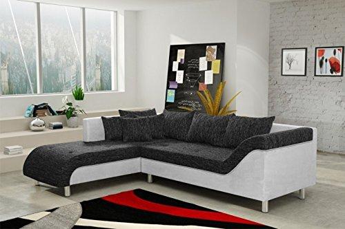 Sofa Couch Ecksofa Eckcouch Sofagarnitur in Schwarz / hellgrau – Male L
