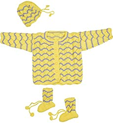 Kuchipoo Unisex Hand Knitted Sweater Set FOR 0 TO 6 MONTHS YELLOW & PURPLE Color