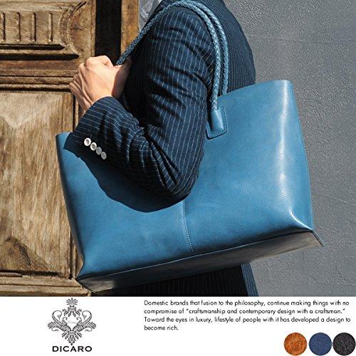 (ディカロ) Dicaro 隠れ迷彩柄レザートートバッグ Bellico メンズ 本革 イタリアンレザー B4 ブルー
