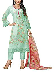 Sara Fashion Women's Georgette Unstitched Dress Material (Green)