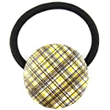 Yellow Black White Sparkle Plaid Pleather Fabric Covered Button Hair Elastic