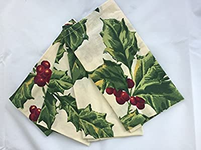 April Cornell Holly and Berries Winter Print Table Linens / Tablecloths / Table Runners / Dinner Napkins.