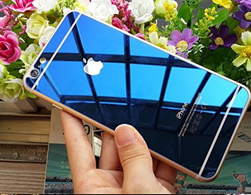 Zocardo Mirror Front Back Tempered Glass Screen Protector For Apple iPhone 6 Plus / 6S Plus – Blue with free soft back transparent cover worth Rupee 200
