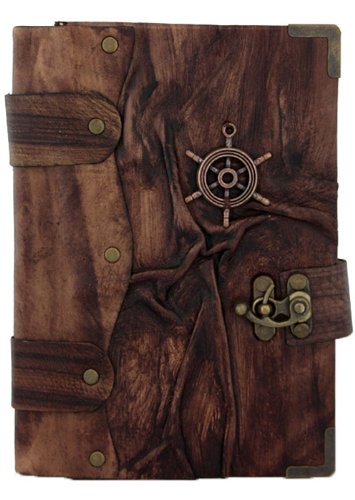 le-navi-a-ruota-pendente-marrone-annata-diario-in-pelle-fatto-a-mano-leather-taccuino-sketchbook-not