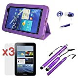 Evecase Purple PU Leather HandStrap Cover Case with Built-in Stand Plus 3pcs Screen Protector, 3 Kinds of Touchscreen Stylus Pen, and Microphone Handsfree for Samsung Galaxy Tab 2 Android TouchScreen Tablet (7.0 inch,WiFi P3100/P3110)
