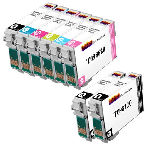8 T098 Ink Cartridges T0981, T0982, T0983, T0984, T0985, T0986 Compatible Remanufactured for Epson 98 Black, Cyan, Magenta, Yellow, Light Cyan, Light Magenta (High Capacity) (1 Set + 2 Black)