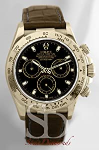 Stein Diamonds Rolex Yellow Gold Daytona Black Dial on Leather Strap / 16518K