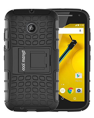 Moto E 2nd Gen Protective Case / Moto E2 Back Case : Cool Mango Premium Dual Layer Armor Protection Case with Kickstand for Moto E 2nd Generation / E2 (3G & 4G Models) - Black