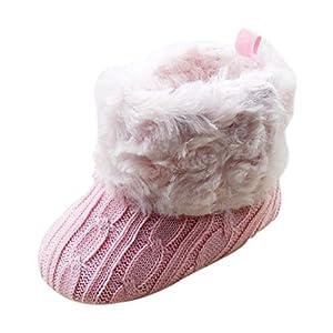 SODIAL (R) infantil del bebe del ganchillo / Tejer de lana Botas para nina pequena Lana Cuna Nieve Zapatos Botines Rosa - S de TOOGOO(R)