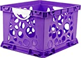 Storex Large Storage and Filing Crate with Comfort Handles, 17.25 x 14.25 x 10.5 Inches, Purple/White, Case of 3 (STX61754U03C)