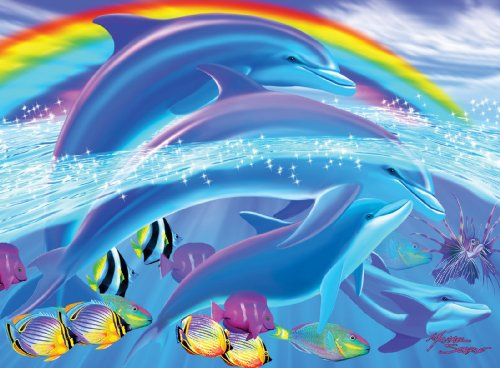 White Mountain Puzzles Dolphin Rainbow Dream - 100 Piece Jigsaw Puzzle