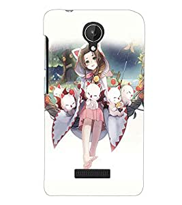 PRINTSWAG GIRL WITH KITTIES Designer Back Cover Case for MICROMAX CANVAS SPARK Q380