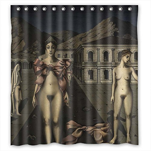 Polyester Shower Curtains, Art Painting Paul Delvaux - The Pink Bows, Size Width X Height / 72 X 72 Inches / W H 180 By 180 Cm Modern Design, Dries Quickly, Best And Suitable For (Shocking Pink Anime)