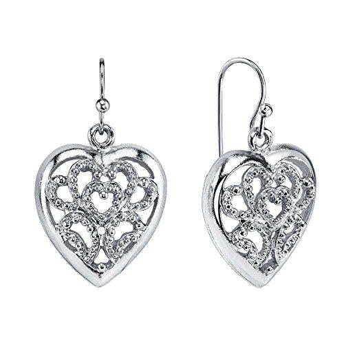 1928 Jewelry Alloy Silver-Tone Filigree Heart Vintage Drop Earrings