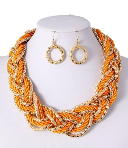 Fusion Necklace & Earrings Set - Orange Rope & Gold Chain