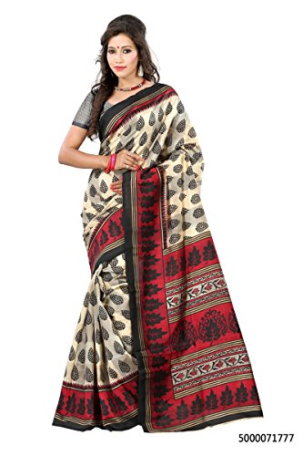 Lookslady women's saree with unstitched blouse Beige, Balck, Maroon color Art-Silk Fabric Home Use Floral Print  available at amazon for Rs.420