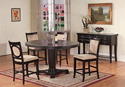 5 PC Dark Cappuccino Finish Round Wood Counter Height Dining Set