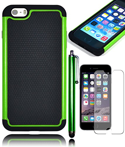 "Bastex Hybrid Deluxe Green Shock Armor Case For Apple Iphone 6 Plus, 5.5"" 6Th Generation **Stylus And Screen Protector Included** front-328907"