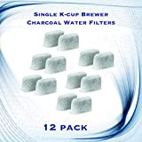 Single K-cup Brewer Charcoal Water Filters for Cuisinart SS-700, DGB-475, DGB-500BK, DGB-550 - 12 Pack