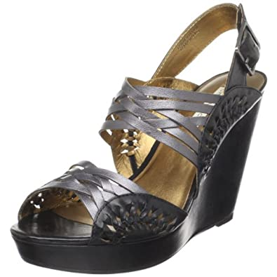 Cynthia Vincent Women's Jaden Wedge Sandal, Gunmetal, 6.5 M US