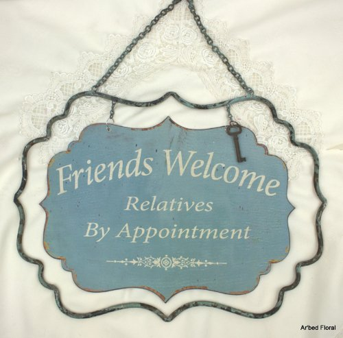 """17"""" Friends Welcome Relatives By Appointment Metal Tin Sign Shabby Wall Hanging front-864256"""