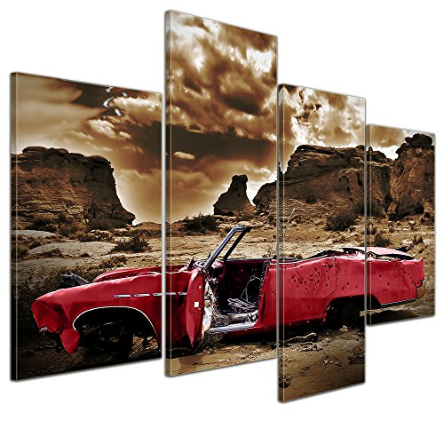 bilderdepot24-leinwandbild-cadillac-rot-sephia-120x80-cm-4-teilig-fertig-gerahmt-direkt-vom-herstell