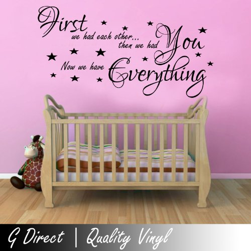 First We Had Each Other Inspirational Nursery Kids Wall Sticker Baby Vinyl Decal (Black, 100Cm X 55Cm) front-524546
