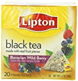 Lipton Black Tea, Bavarian Wild Berry, Premium Pyramid Tea Bags, 20-Count Boxes (Pack of 6)