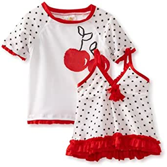 ABSORBA Baby Girls' Three Piece Red And White Swimsuit, Red/White, 12