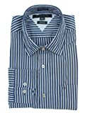 Tommy Hilfiger Mens Long Sleeve Custom Fit Button Front Shirt - M - Blue/White
