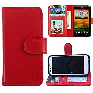 Dooda Genuine Leather Wallet Flip Case For Micromax Bolt A069 (RED)