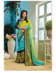AG Lifestyle Yellow & Sky Blue Faux Georgette Saree With Unstitched Blouse AKS2027