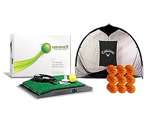 OptiShot 2 Home Simulator Bundle | Includes Callaway 7-foot Hitting Net & 18 HX Practice Balls