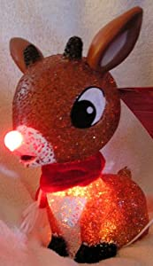 """Rudolph the Red Nosed Reindeer 11"""" Lighted Christmas Decoration - Lights Change Color"""
