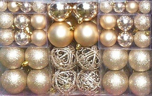 100-Weihnachtskugel-Creme-Champagner-changierend-glnzend-glitzernd-matt-mit-100-Metallhaken-Christbaumschmuck-bis--6-cm-Baumschmuck-Weihnachten-Deko-Anhnger
