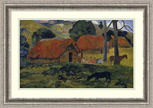 framed-art-print-dog-in-front-of-the-hut-le-chien-devant-la-hutte-by-paul-gauguin