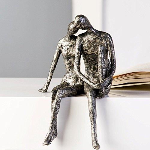 Designer-Figur Skulptur Kantensitzer Couple in Antik-Silber 25 x 18 H x B thumbnail