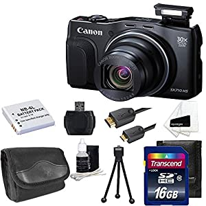 Canon PowerShot SX710 HS 20.3MP HD 1080p Video Digital Camera Black With Extra Battery + Digital Camera Case And 16GB Memory Card Top Deluxe Accessory Kit