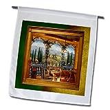3dRose fl_18386_1 Tuscan Villa Garden Flag, 12 by 18-Inch