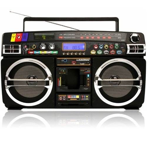 Lasonic i931x ghetto blaster ipod iphone itouch dock lcd display blac - Lasonic ghetto blaster i931x ...
