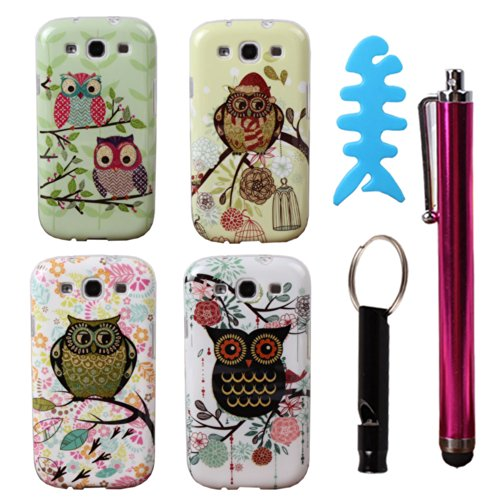 Teenitor(Tm)#S301 Pack Of 4 Pcs Cute Bling Owl Design Cartoon Animal Cases Slim Tpu Skin Cover Case For Samsung Galaxy S3 I9300 (With Stylu, Fish Earphone Cable Organizer And Whistle) Shipping From Usa