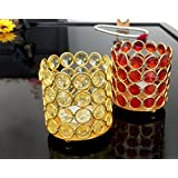 TiedRibbons® Crystal T Lights Holder Pack Of 2(3.2 Inch X 3.1 Inch,Golden,Brass)