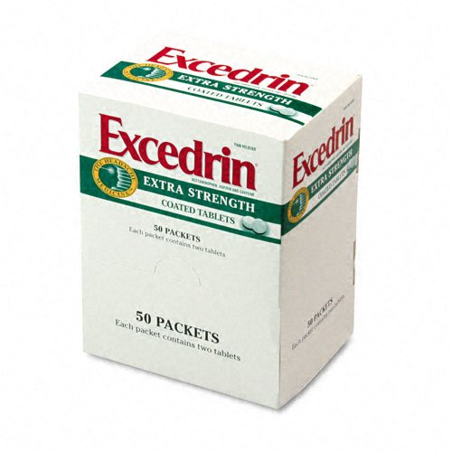 PhysiciansCare : Extra-Strength Excedrin Pain Reliever Refill, 50 Two-Packs per Box -:- Sold as 2 Packs of - 50 - / - Total of 100 Each