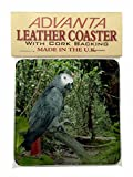 African Grey Parrot Leather Coaster Christmas Gift, Ref:AB-PA76SC