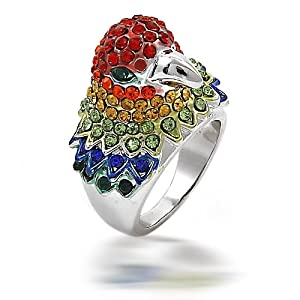 Bling Jewelry Silver Tone Multi Color Rhinestone Parrot Cocktail Ring