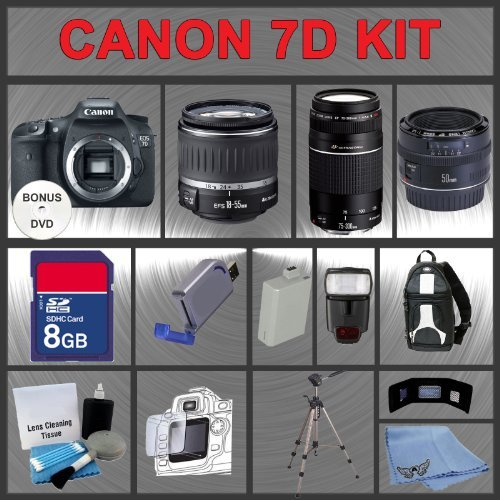 Canon EOS 7D Digital SLR Camera Body with Canon 18-55mm and Tamron AF 75-300mm f/4.0-5.6 LD for Canon Digital SLR Cameras + 32GB Memory Card + Digital Flash + SD Memory Card Reader + Li-Ion Replacement Battery Pack + Deluxe Cleaning Kit + Carrying Case +
