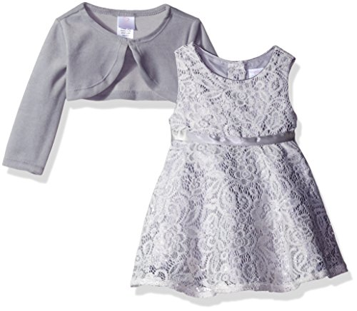 Youngland Baby Girls' 2 Piece Lace Dress and Knit Cardigan, Silver/White, 3-6 Months