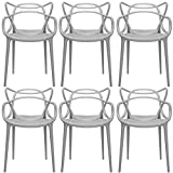 2xhome - Set of 6 Dining Room Chairs - Modern Contemporary Designer Designed Popular Home Office Work Indoor Outdoor Armchair Living Family Room Kitchen Bed Bedroom Porch Patio Balcony Arm Chair Swimming Pool Backyard Back Yard In Out Door Seat Vogue Trendy In Style Stylistic Artistic Art Elegant Stackable Stacking Stack - (Grey)