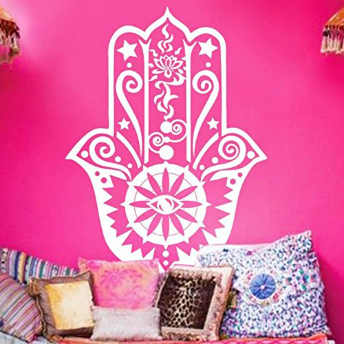 Yanqiao Removable Wall Decal Vinyl Sticker Indian Yoga Lucky Hand Fatima Sticker Home Decor Art Bedroom Design Interior Mural
